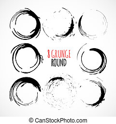Set of vector grunge circle brush strokes