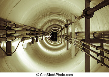 tunel - Underground tunnel connecting the pipes from the old...