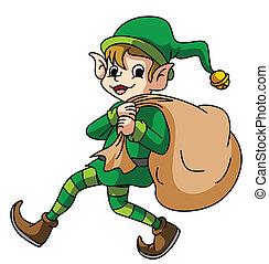 Elf Carying Sack Of Gift