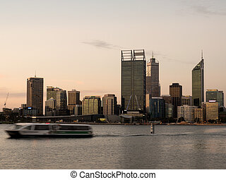 Ferry on Swan River with Perth City Skyline