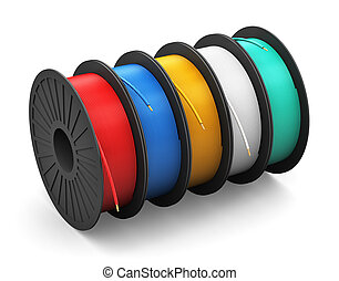 Spools with electric power cables - Creative abstract...
