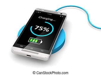 Wireless charging of smartphone - Creative abstract modern...