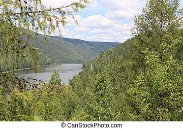 Flowing river among hills Kahn - Landscape on the Siberian...