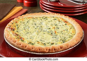 quiche Lorraine - Fresh baked quiche Lorraine on a serving...