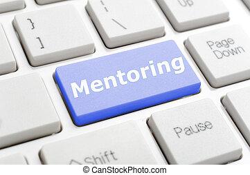 Mentoring key on keyboard - Blue mentoring key on keyboard