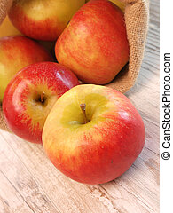Red apples - Fresh red apples in a canvas bag