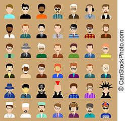 Set of circle flat icons with men. vector illustration -...