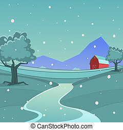Winter Farm Landscape - Cartoon illustration of red farm...