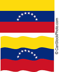 Flat and waving Venezuelan Flag. Vector illustration