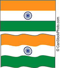 Flat and waving Indian Flag Vector illustration