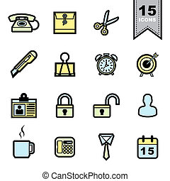 Office tools icons set .Illustration eps 10