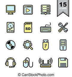 Computer icons set Illustration eps 10