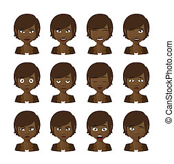 Female cartoon avatar expression set - Illlustration of a...