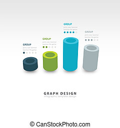 vector cylinder infographic 3d graph template 4 color