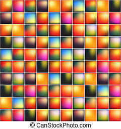 Glossy colorful mosaic square cells grid, abstract vector...