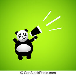 Panda cartoon character isolated on greed background, vector...