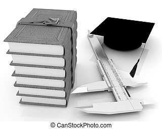 Vernier caliper, books and graduation hat The best...