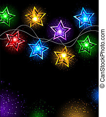garland of stars - Electric garland colored lamps in the...