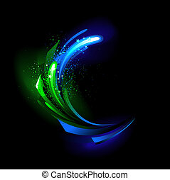 Glow green crystal - abstract background with green and blue...