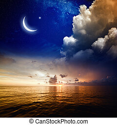 Sunset, sea and moon - Islamic background with moon and...