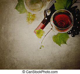 Wine - Glass of red and white wine on textured background