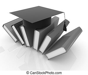 Colorful books and graduation hat