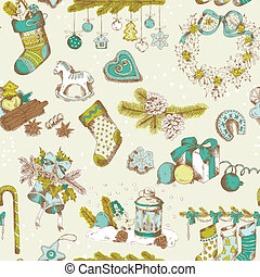 Seamless Christmas Pattern - hand drawn - for design and scrapbook - in vector