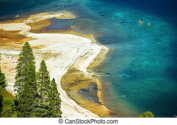 Sandy Lake Tahoe Beach with Crystal Clear Water and Some...