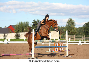 Brunette woman show jumping on brown horse in summer