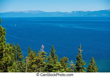 Lake Tahoe Summer Panorama. Clear Blue Water of the Lake...