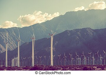 Power Plant Scenery Wind Turbines in Coachella Valley,...