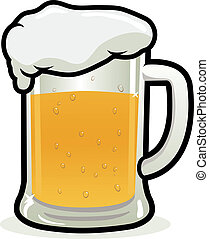 Glass of Beer - A cold glass of beer on white background,...