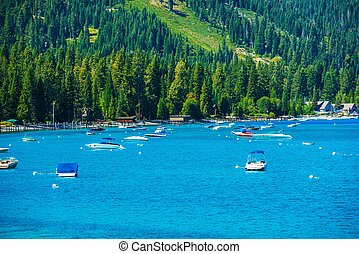 Lake Tahoe Marina Panorama South West Lake Tahoe,...