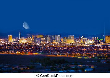 Las Vegas Strip and Moon - Las Vegas Strip and the Moon. Las...