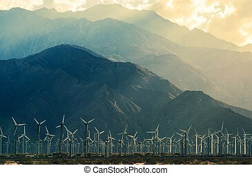 California Desert Wind Turbines in Coachella Valley. Scenic...