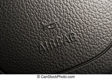 Steering Wheel Airbag Symbol Closeup Photo. Car Safety...