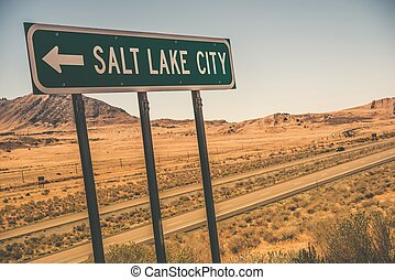 Salt Lake City Road Sign on the Interstate I-80 Somewhere...