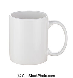 White Ceramic Coffee Cup Isolated on White Background Side...