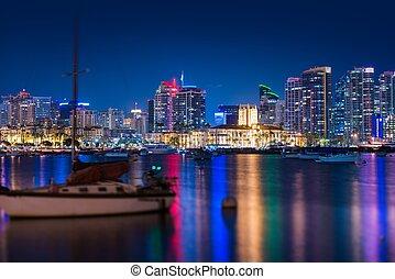 San Diego Skyline at Night. San Diego, California, United...