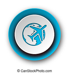 travel blue modern web icon on white background