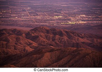 Coachella Valley at Dusk. California, United States. Thermal...