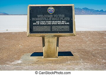 Bonneville Salt Flats Sign Utah, United States Salt Lake Bed...