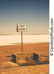Foot Wash in Bonneville Salt Flats Area Utah, United States...