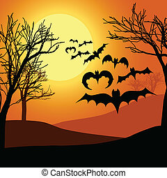 Halloween night background with moon, trees and black bats.