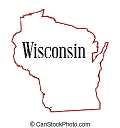Wisconsin - Outline map of the American state of Wisconsin
