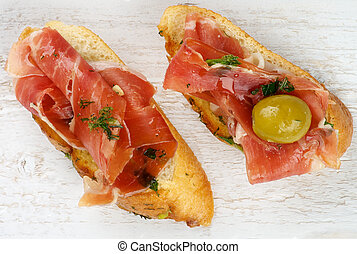 Jamon Tapas - Two Delicious Tapas with Smoked Jamon on...
