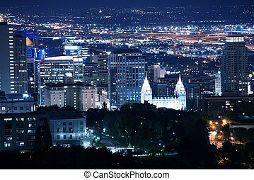Salt Lake City Downtown at Night. Salt Lake City, Utah,...