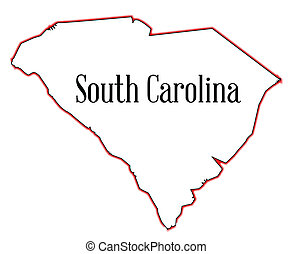 South Carolina - Outline map of the state of South Carolina