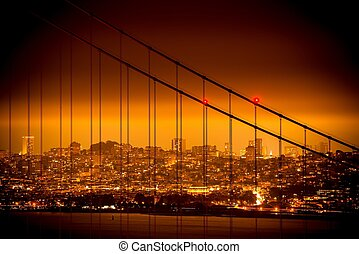 San Francisco Skyline and the Golden Gate Bridge Suspension...