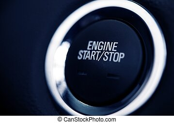 Push Start Car Button Closeup Photo. Car Ignition Button.